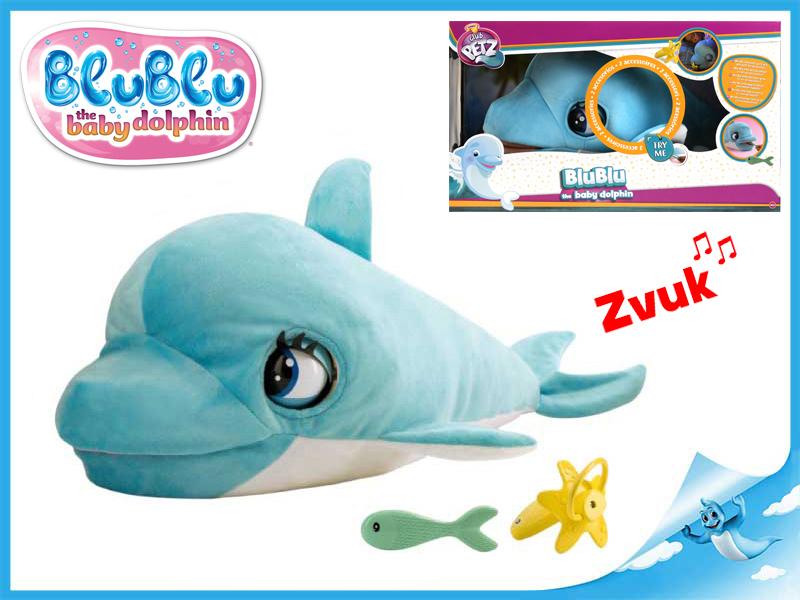 Levně Blu Blu plyšový delfín 60cm se zvukem a doplňky