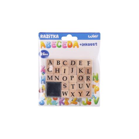 Razítka abeceda 26ks + inkoust