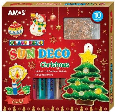 Barvy na sklo - vánoční sada 10 barev 10,5ml + 12 sklíček