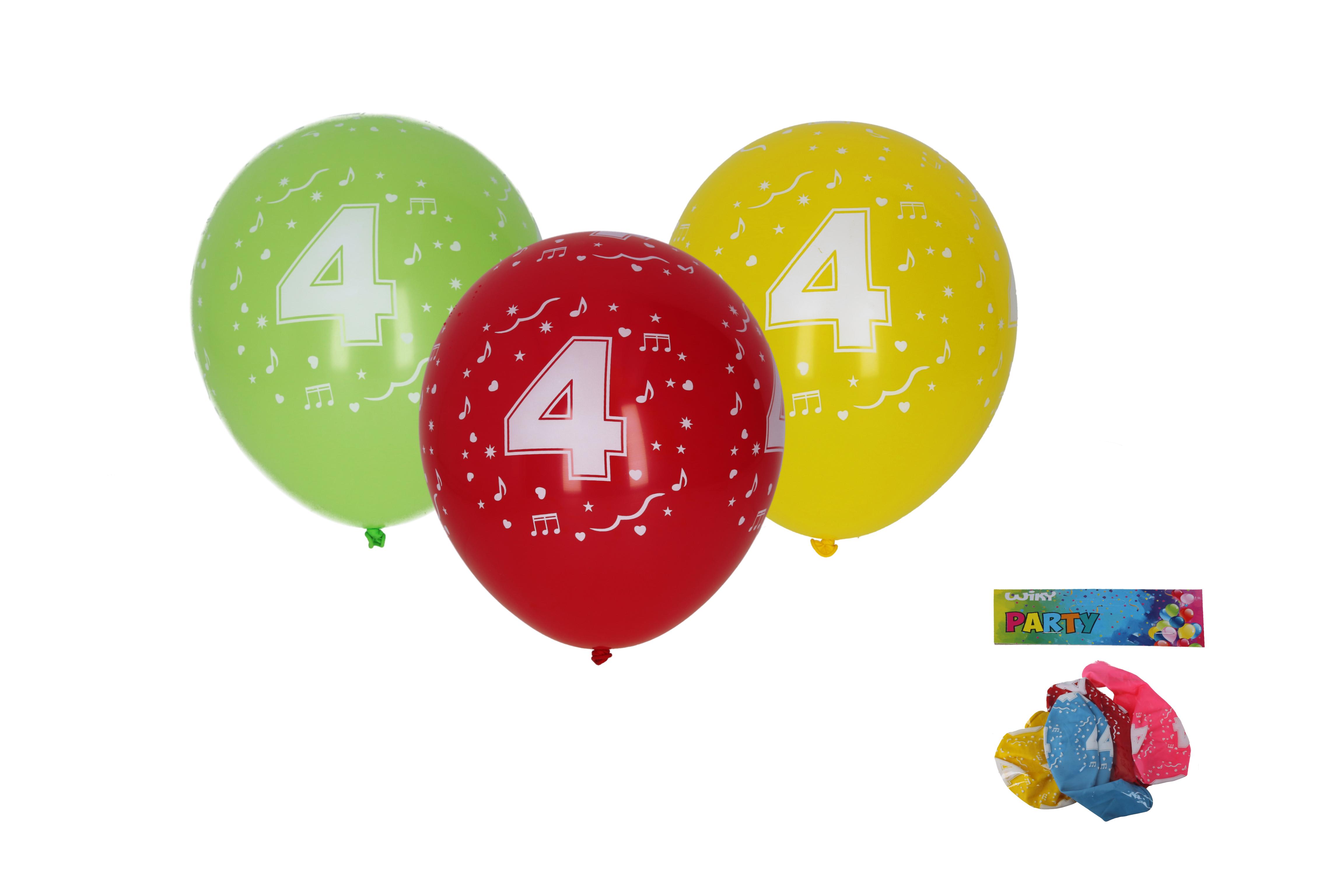 Balónek nafukovací 30cm - sada 5ks, s číslem 4